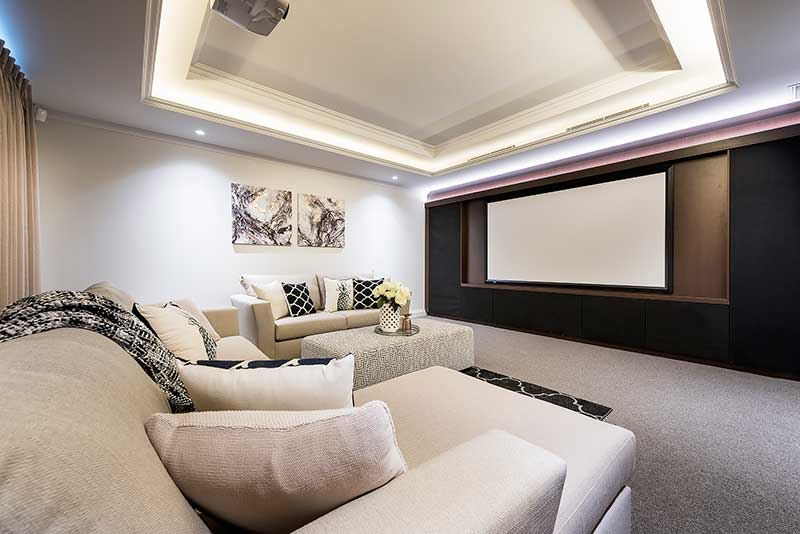 Luxury home theatre room with neutral colour tones