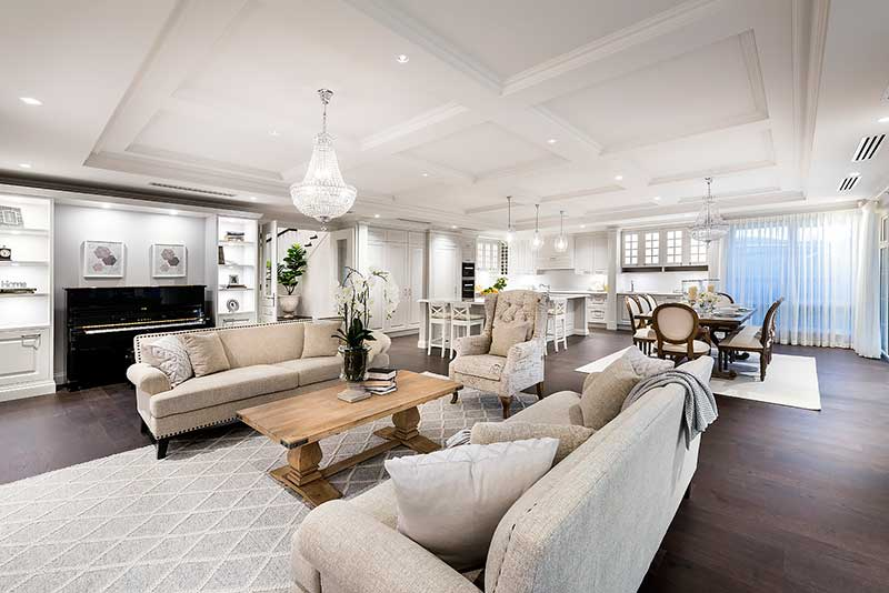 Hamptons style living area - large open plan space
