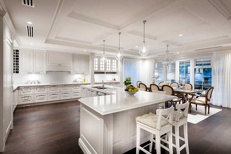 Hamptons style kitchen and living area
